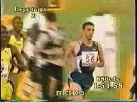 World Record Holder for the Fastest Time:  In 1999, Hicham El Guerrouj ran 3:43.13.  http://www.youtube.com/watch?v=XvCsj7eJKKA