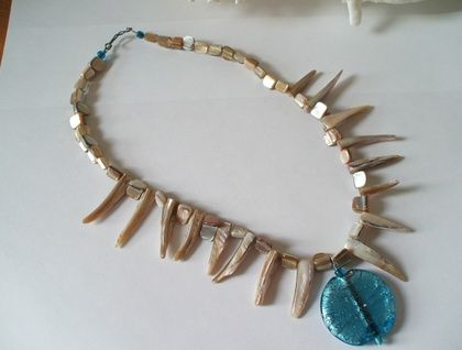 Shell and glass necklace