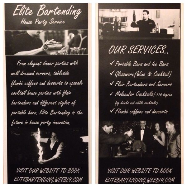 Saskatoon Here is our new house party service you can add things like TABLESIDE  Flambé Coffees and Desserts to bottle flipping fire blowing bartenders visit our website to find out more www.elitebartending.weebly.com