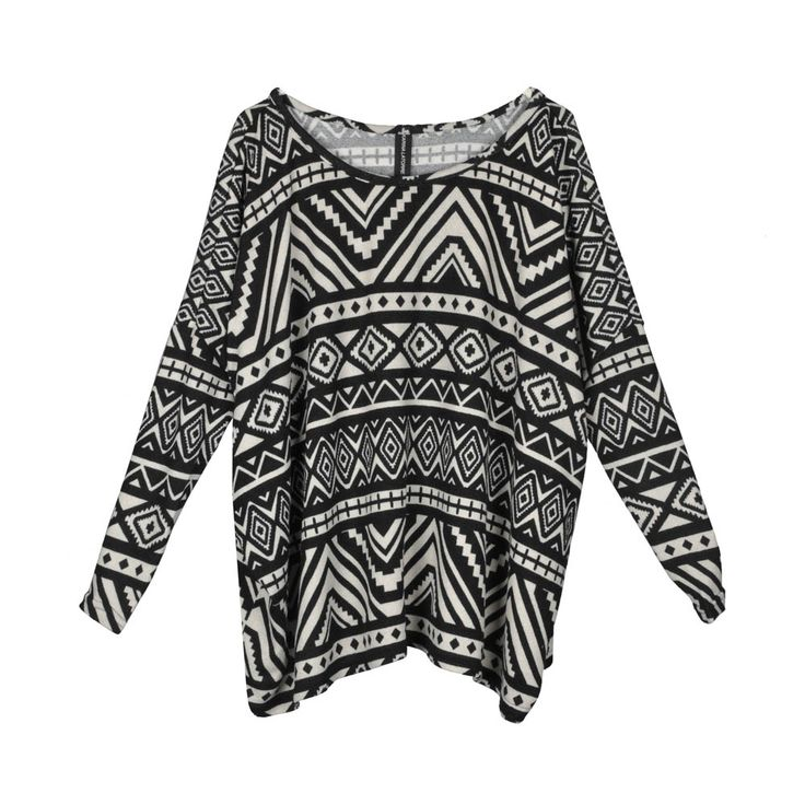 Sweater/polera de mujer lanilla holgada, estampado étnico.