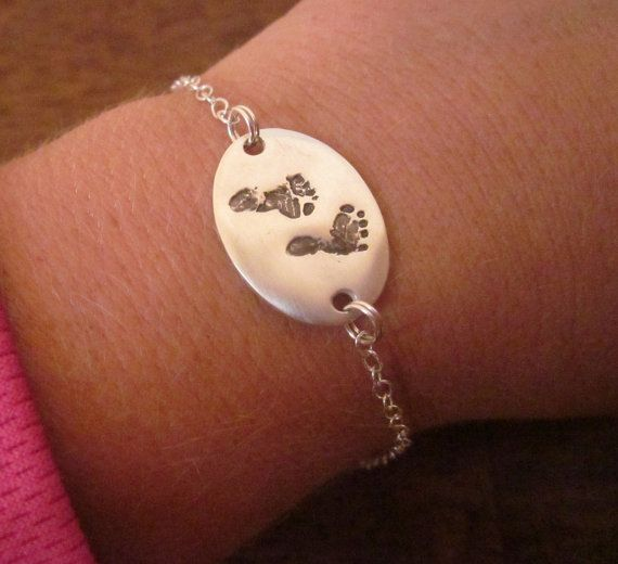 Baby Footprint Bracelet Made from YOUR by CustomSilverPendants