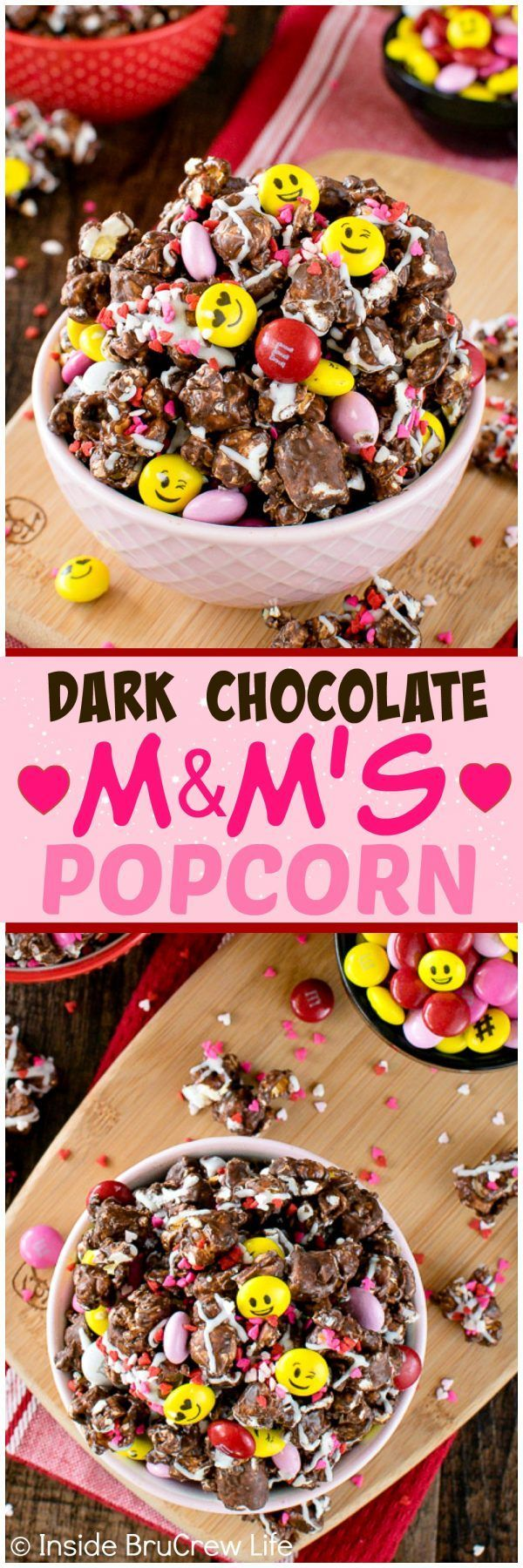 Dark Chocolate M&M's Popcorn - chocolate coated popcorn loaded with sprinkles & candies make this the best snack mix. Easy recipe for movie nights or game days!
