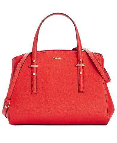 Calvin Klein Saffiano Triple Compartment Satchel