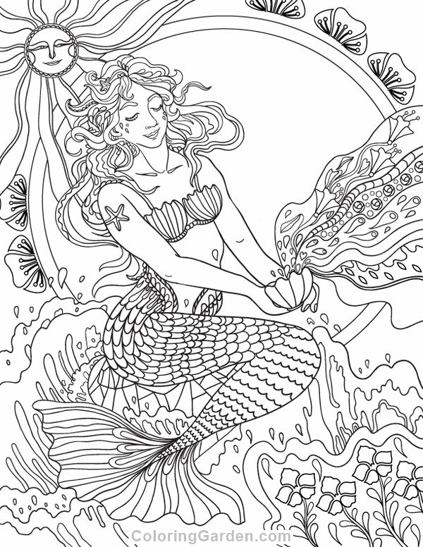Art Nouveau Mermaid Adult Coloring Page