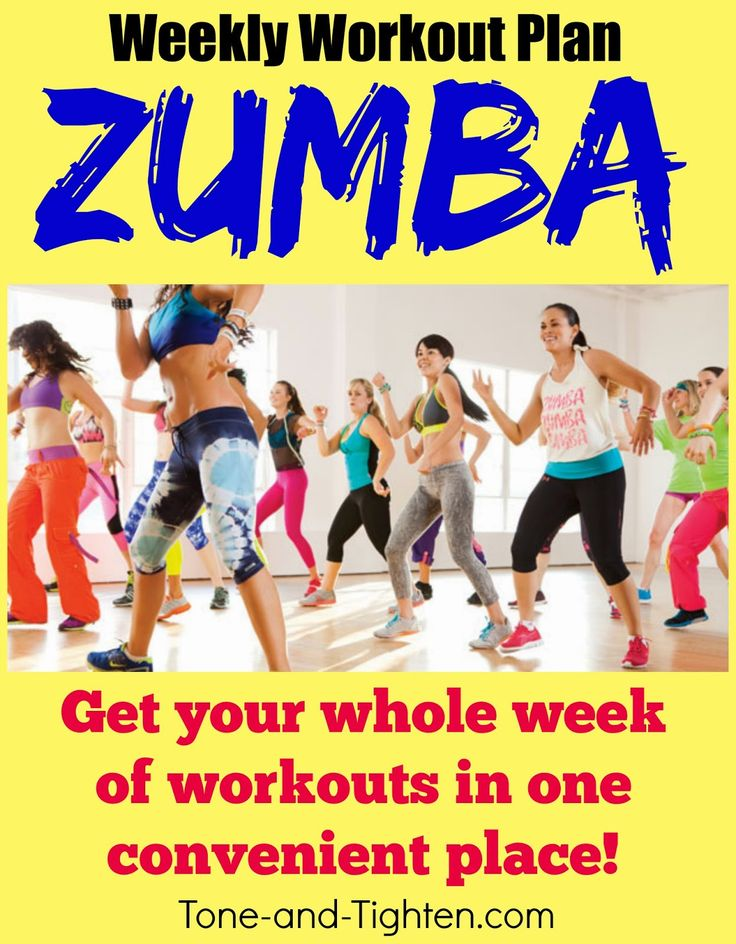 Weekly Workout Plan featuring 5 days of great, at-home Zumba videos! Shred it while you shake it at Tone-and-Tighten.com!