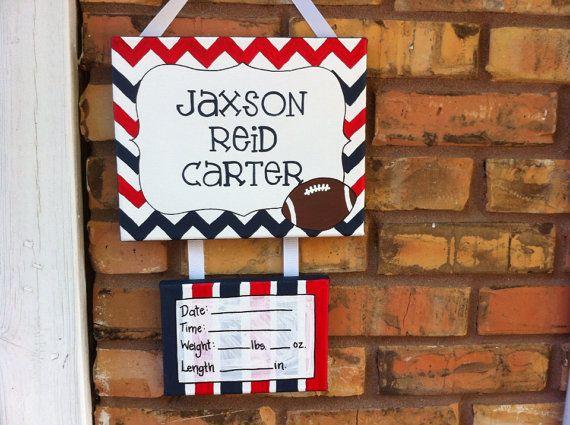 Football and chevron baby hospital door decoration, door sign, nursery, bedroom on Etsy, $30.00