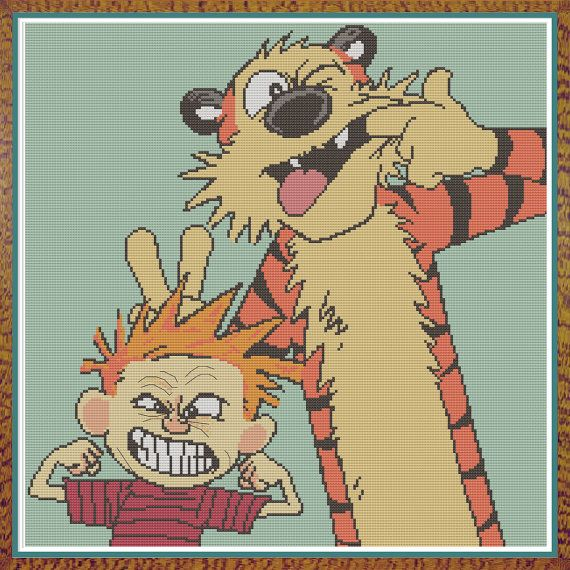 Calvin and Hobbes - Making Faces - Counted Cross Pattern by HornswoggleStore, $5.00 (cartoon, comic, comic strip, kids, children)