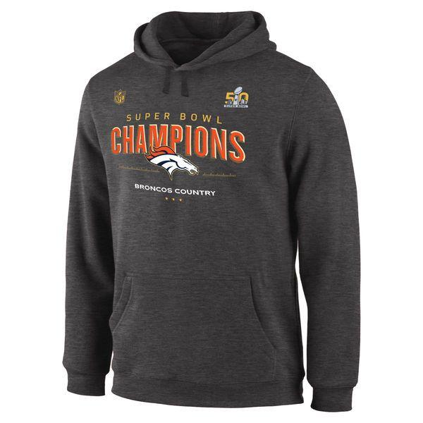 Denver Broncos Super Bowl 50 Champions Trophy Collection Locker Room Hoodie - Dark Gray - $52.99