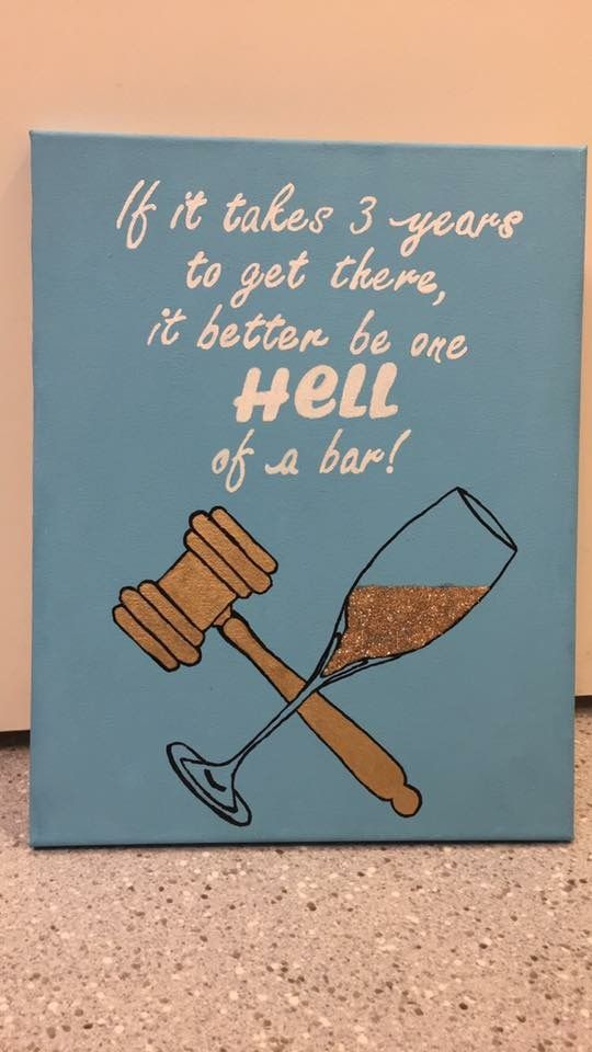 lawyer law school canvas gold glitter wine hell of a bar