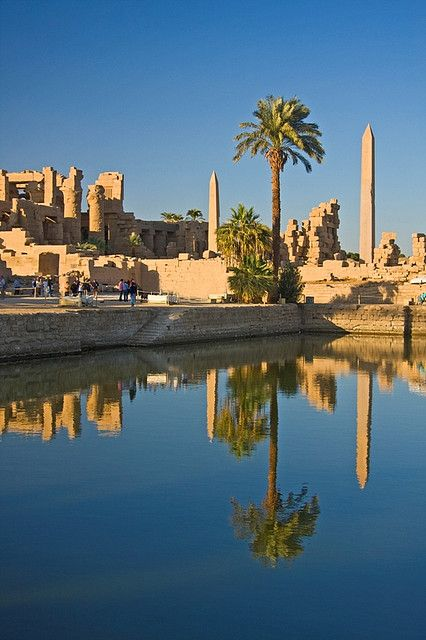 Karnak Temple and the Obelisks of Hatshepshut reflected in the Sacred Pool…