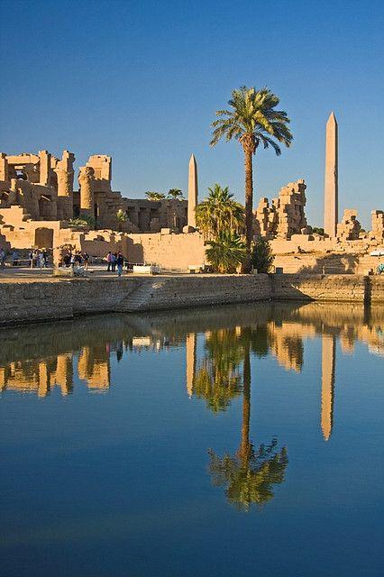 Karnak Temple and the Obelisks of Hatshepshut reflected in the Sacred Pool…