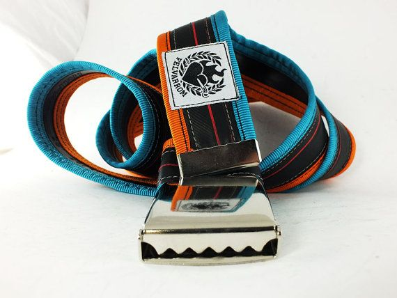 punctured 2 navy turquoise/orange  #recycled #bicycle #innertube #belt by #felvarrom