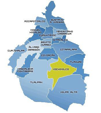 Mapa delegacional del Distrito Federal, (cdMx) capital de la República Mexicana