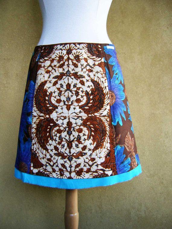 Bruine Indonesische Batik Servetten, A-lijn rok, vintage stoffen, bloemenprint, blauw turquoise paars donkerbruin, maat Small