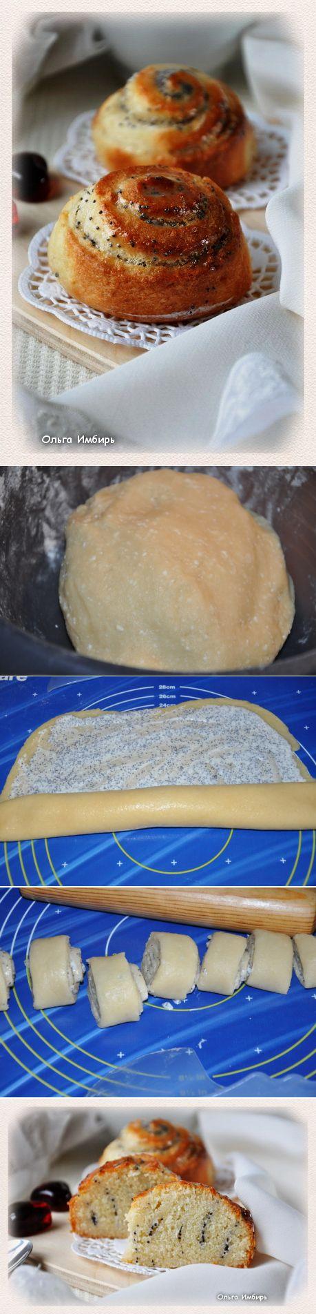 Маковые плюшки из творожного теста. Для теста:   250 г творога   2 яйца   0,5 стакана сахара   0,5 стакана растительного масла  2,5-3 стакана муки  Ванилин   10 г разрыхлителя   Щепотка соли  Для начинки:   2 ст.л. сметаны  Мак  Сахар  Глазурь:   3-4 ст. л. сахарной пудры  Горячее молоко