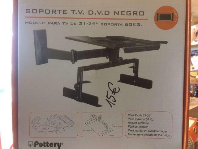 . Soporte TV Extensible plata  Modelo pata tv 21-25  soporta 60kg  -facil instalar  -para montar en cualquier lugar  -mantengase alejado de los ni�os -modelo giratorio precio es 15�