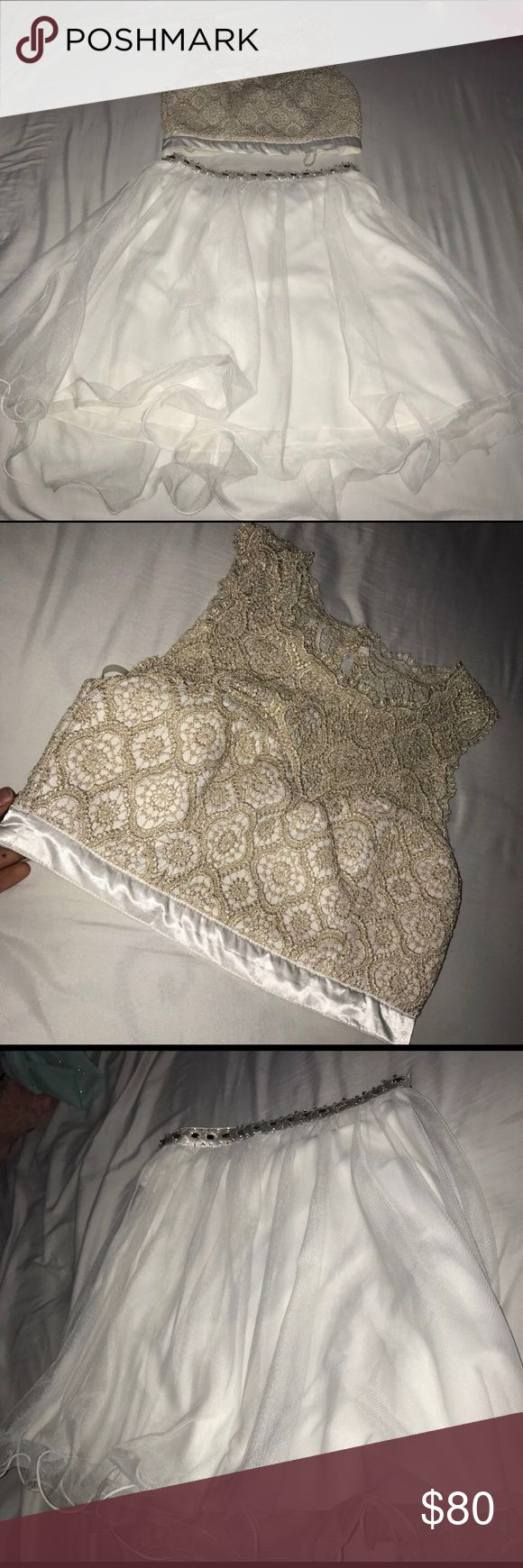 White and Gold Two-Piece Homecoming Dress Only Worn Once.                                                                     Originally $100 Dresses Prom