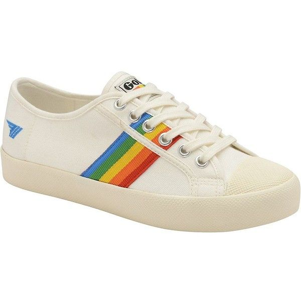 Gola Women's Coaster Rainbow Canvas Sneakers found on Polyvore featuring shoes, sneakers, off white multi, gola trainers, round cap, rainbow sneakers, round toe sneakers and off white lace shoes