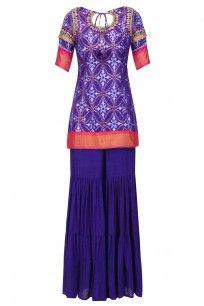 Purple Ikat Work Short Kurta and Sharara Pants Set #tishasaksena #newcollection #ethnic #shopnow #ppus #happyshopping