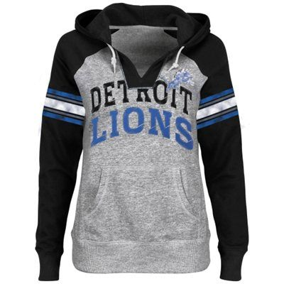 Detroit Lions Ladies Huddle III Pullover Hoodie - Steel/Black
