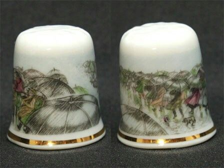 """Avignon France Umbrellas But France Avignon TCC request for TCC members issued the thimble. """"Umbrellas"""" (umbrella)  But the picture painted screens, plenty of umbrellas, rain One lap around.  Blowin' in the wind Others umbrella has been turned upside down. France Avignon Porcelain Size: approx. 21 x 21x24mm $50.00"""
