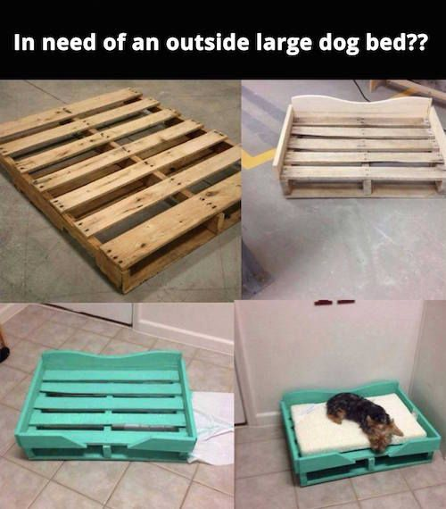 Make a dog bed out of wood pallets!                              …