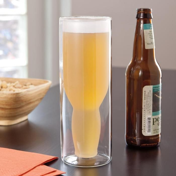 Double-walled glass keeps beer frosty cold