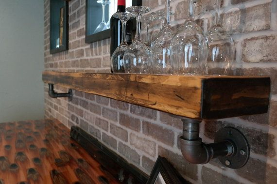 Rustic Industrial Floating Shelf with Pipe Shelf by JBlockDesigns