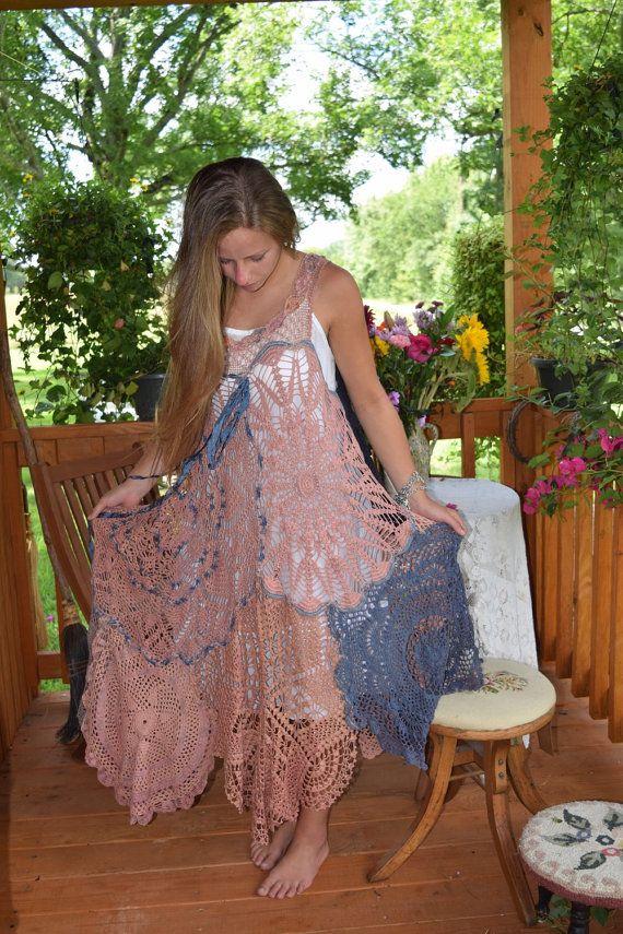 ON SALE*********Luv Lucy Crochet Dress *** Arizona Sunset ** Boho Gypsy Hippy Dress