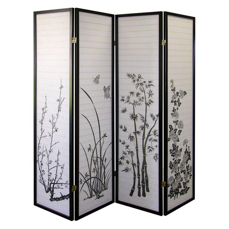 3 Panel Room Divider Cherry - Ore International, Black/White