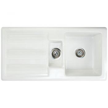 Astini Canterbury 150 1.5 Bowl Gloss White Ceramic Kitchen Sink U0026 Waste    Astini From TAPS