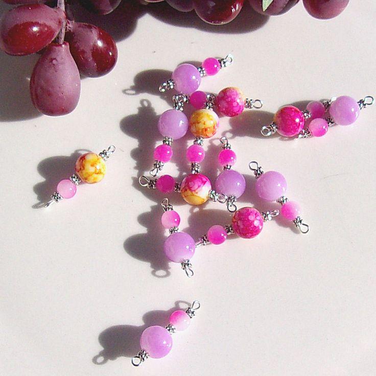 Connecteurs mixte perles glass jaune rose violet