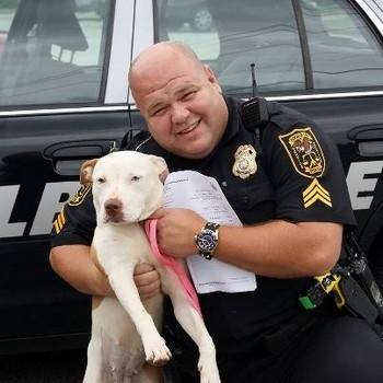 Officer adopts homeless dog, what a joyful ending for one of the most misunderstood dog breeds.  Good for him. They are only as mean as YOU make them.