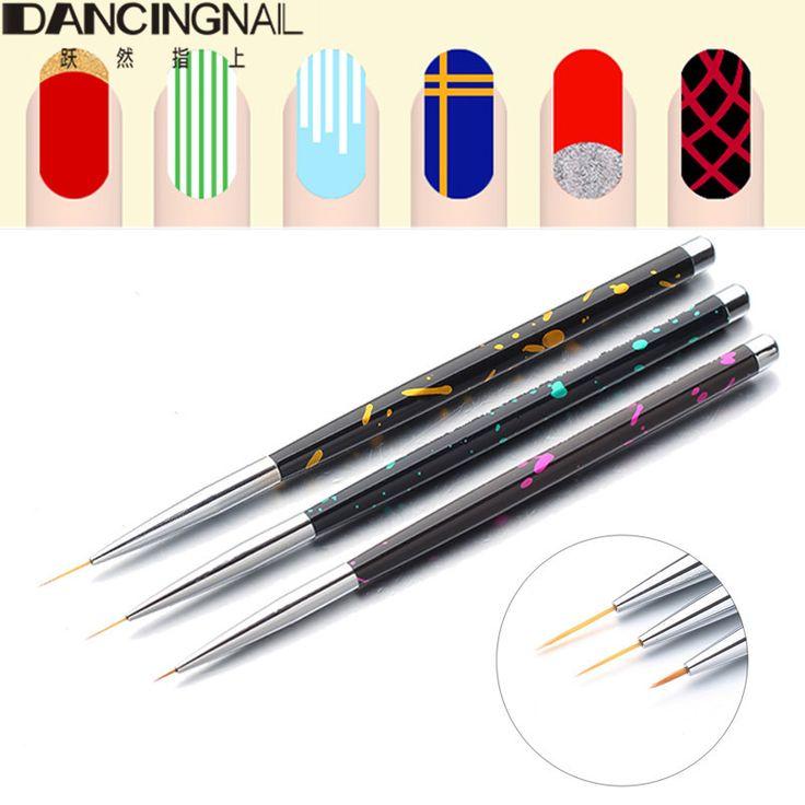 3pcs Acrylic Nail Art Brush Liner Pens Black Handle For UV Gel Polish Painting Drawing Stripe Lining Brushes Manicure Tools 2017