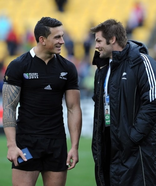 New Zealand All Black rugby players Sonny Bill Williams and Richie McCaw.