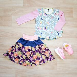 Ecstatic LS Splice T Shirt, Watch Me Twirl Midi Skirt, Nike Free RN 2017 TD Toddler Arctic Punch/Mtlc Summit White, Oishi-m Clothing for Kids, Winter 18, www.oishi-m.com