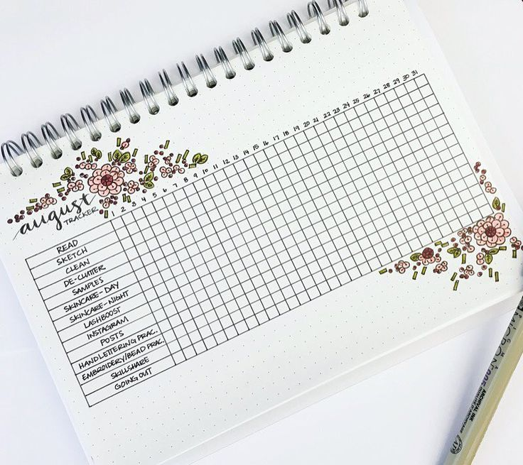 """93 Likes, 7 Comments - Jennifer (@journalrella) on Instagram: """"My August tracker! I added a few things that I want to try to improve on - sorry I've been a little…"""""""