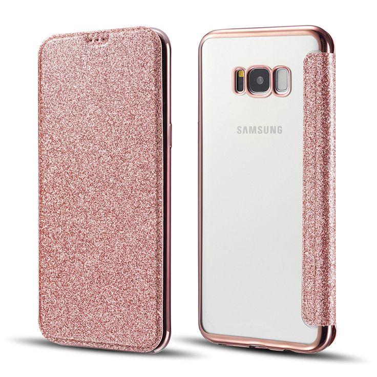 Oferta caliente CreatValu Bling Glitter Clear Tpu de la PU Carpeta Del Tirón Del Cuero Del Teléfono Funda para el Samsung Galaxy S6 S7 S8 borde Más caso ..... Haga clic en el enlace para verificar el precio