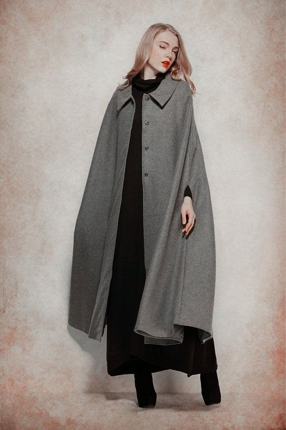 Red Wool Coat Winter Coat Wool Cloak Big Swing by camelliatune