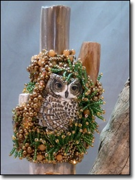 """Wisdom of Women"" Conversation Stick by Jody Young  ~ Porcelain Owl by Laura Mears"