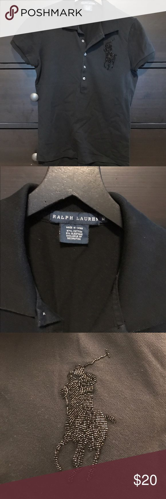 Ralph Lauren Black Polo Shirt RL black polo shirt with large beaded logo. Cute top. Size M. Excellent used condition. Ralph Lauren Tops