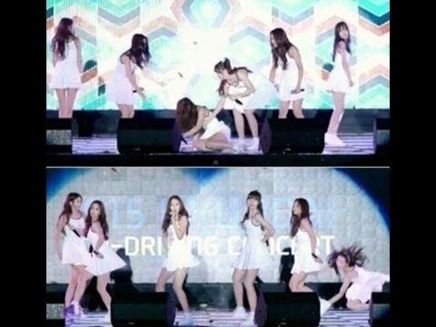 سقوط عضوات فرقة gfriend على المسرح اثناء تأديتهن اغنية  Me gustas tu - YouTube