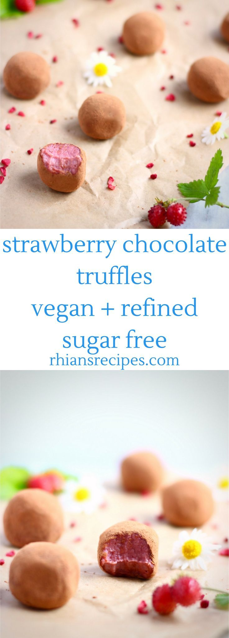 Strawberry Chocolate Truffles (Vegan, gluten-free and refined sugar free) - made with cashew nuts, strawberry jam, cacao butter, cacao powder