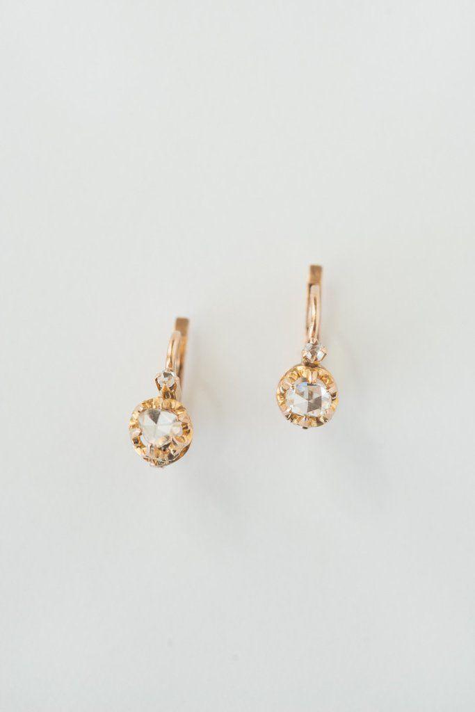 Antique French Rosecut Diamond Earrings - 18k / Rose gold