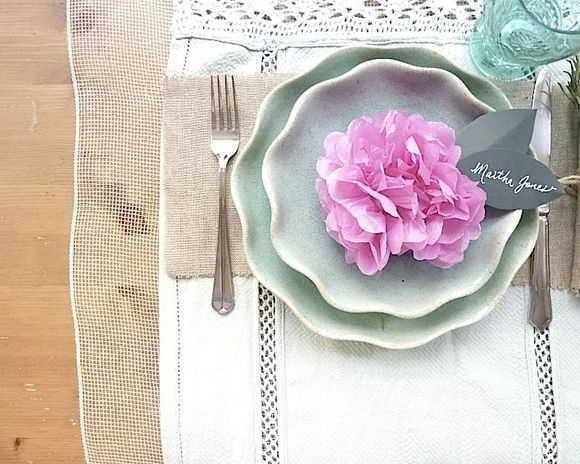 DIY Pink paper pom pom place setting-pretty sure this one is getting some use at my wedding