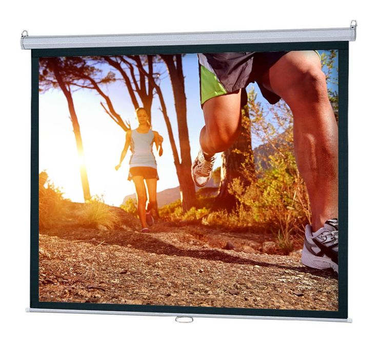 92 x 69 Projector Screen for Wall Mount Use, 120-inch Retractable Screen - Black