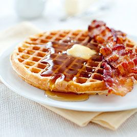 Waffle with Bacon Enjoy this fat burning meal for breakfast. Waffle(fast carb), Bacon(protein), Butter(fat), Syrup(condiment). Learn more at www.Mydietfreelife.com
