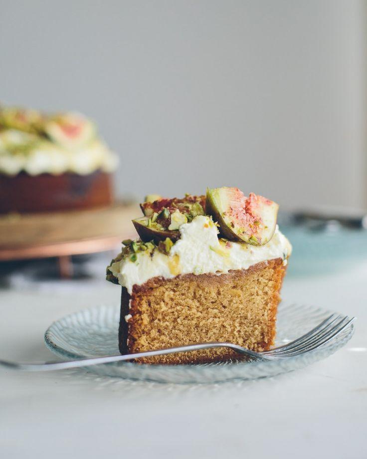 honey cake with mascarpone, figs + pistachios