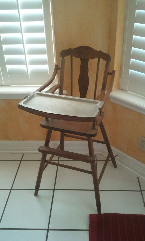 Vintage Wooden High Chair With Metal Tray By
