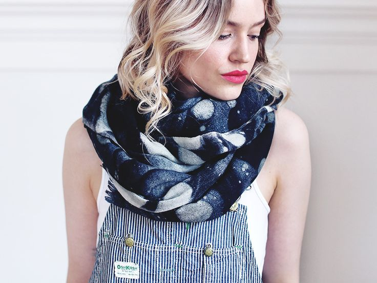 """Our soft, oversized wool gauze Vallarta scarf is the perfect layering piece for the season. Digitally printed with our popular marble pattern in soft greys and blacks on a natural white.~ measures 40"""" x 80""""~ 100% wool gauze ~ digitally printed marble pattern - grey/black on natural white. This black borders on navy in tone.CARE : hand wash in cold, lay flat to dry. Safe to iron.As with any handmade item our pieces have slight inconsistencies which adds to t..."""